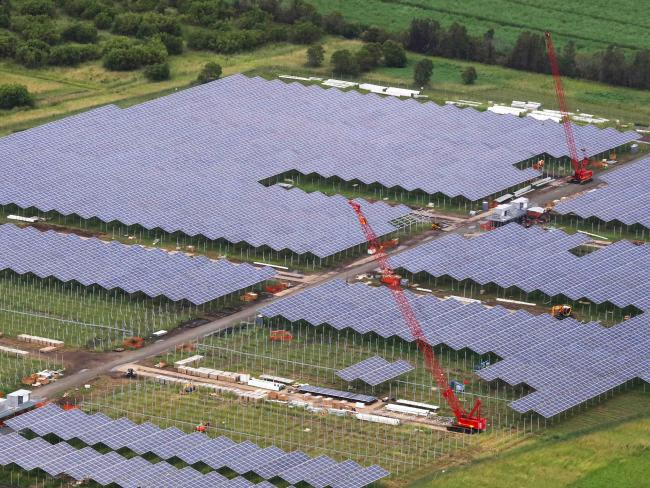 The Sunshine Coast Solar Farm under construction at Yandina.