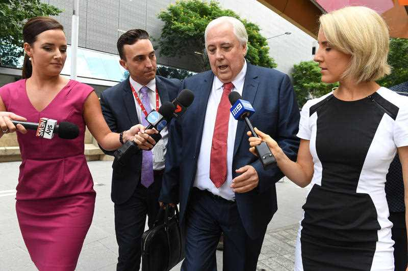 Clive Palmer arrives at the Federal Court in Brisbane, Wednesday, Feb. 15, 2017. Liquidators are resuming their examination of the former federal MP over the collapse of Queensland Nickel.