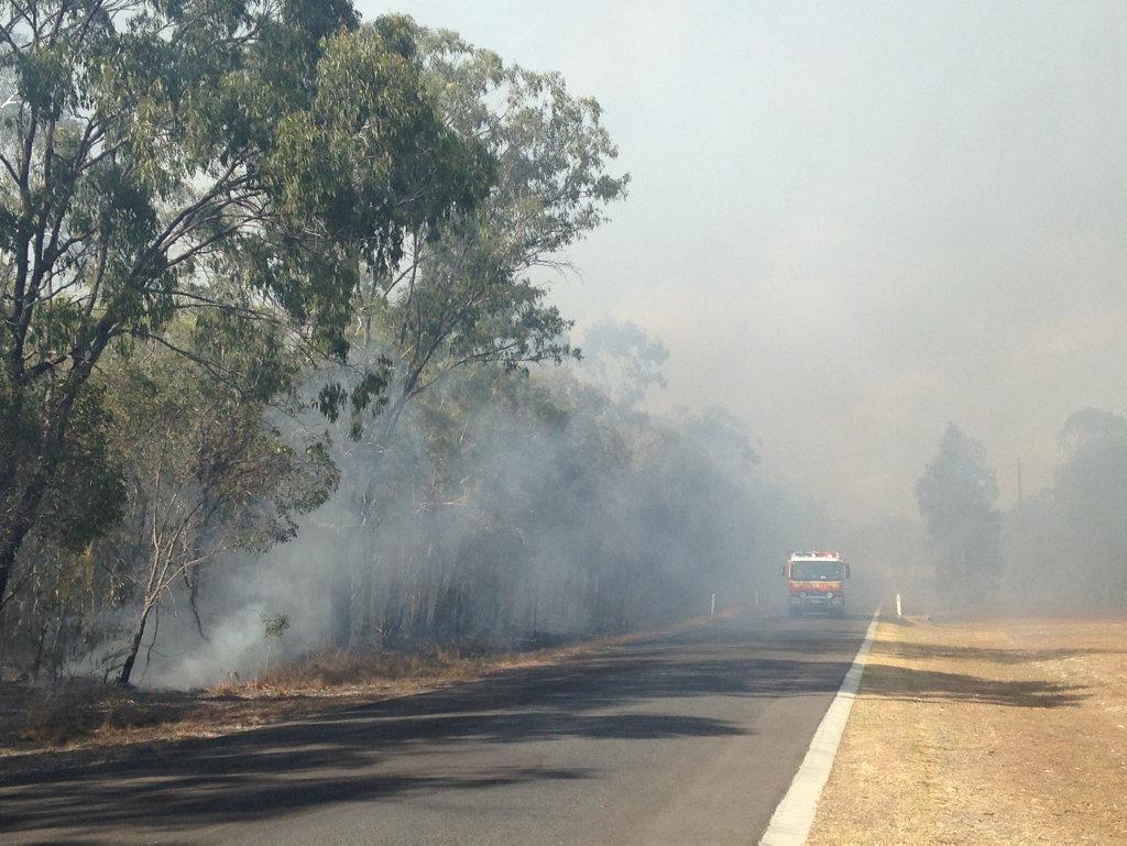 Crews at the scene of the blaze in Urangan.