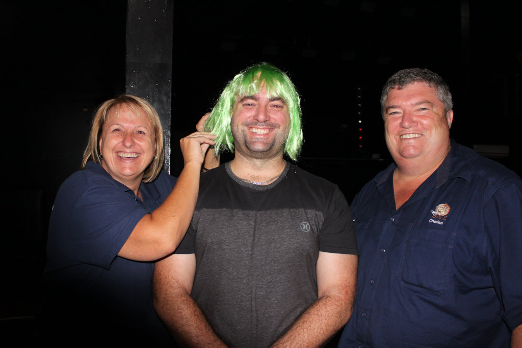 Green-haired Brendan with Tracy and Charles Alder getting into the spirit of this year's PubFest.