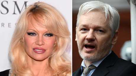 "Pamela Anderson finds Assange's courage ""sexy"".Source:News Limited"