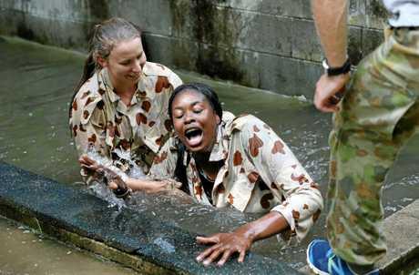 Aiken doing it tough at the pre-season boot camp at the Kokoda Barracks.