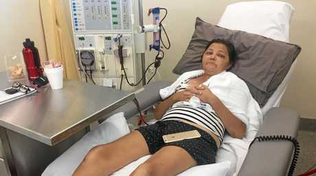 STILL SICK: Kathy Abbott receiving dialysis treatment at Mackay Base Hospital.