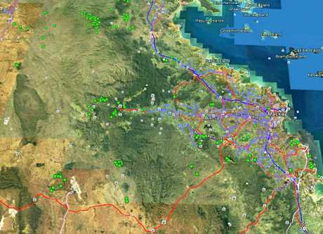An overview of abandoned mines located in the Mackay region and surrounds. Green dots represent mines.
