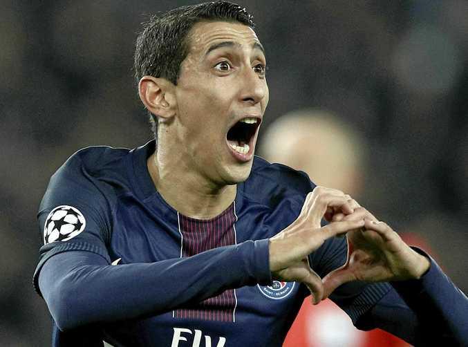 Paris Saint Germain's Angel Di Maria reacts after scoring first goal against Barcelona.