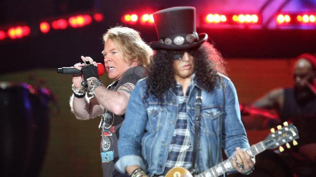 Axl Rose and Slash during the Guns N' Roses concert at the MCG.