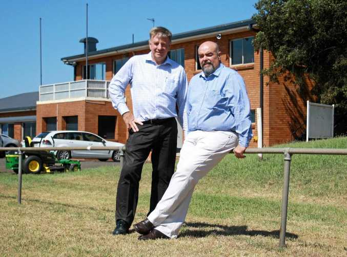 HOME OWNERS: Brothers Leagues Club Toowoomba chairman Gary Palmer and Brothers Seniors president Joe Hannant at Glenholme Park on land the club has bought back.
