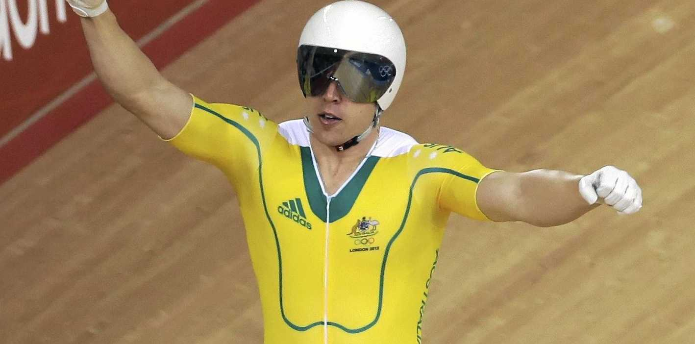Australia's Shane Perkins celebrates after winning the bronze medal in the track cycling men's sprint during the 2012 Olympics in London.