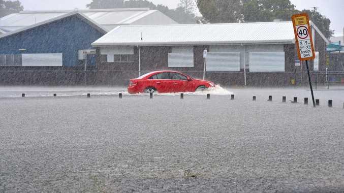 Flash flooding at Emmanuel Catholic Primary School Wednesday, February 15, 2017.
