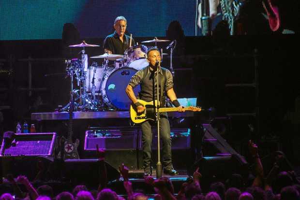 Bruce Springsteen performing.