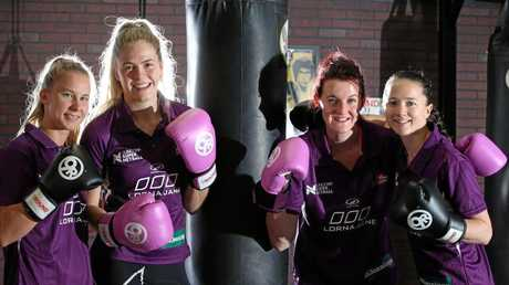 Firebirds Mahalia Cassidy, Kimberley Jenner, Kate Shimmin and Caitlyn Nevins during pre-season training.