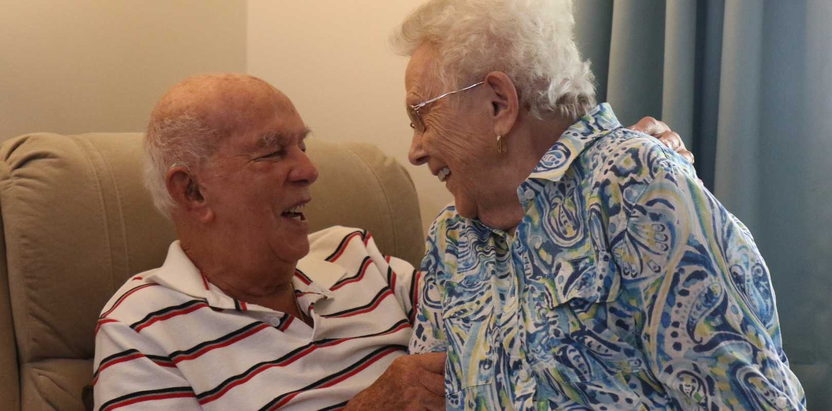 Max, 93, and Marcia Wyss, 89, and Marcia reside at Ozcare's Keith Turnbull Place aged care facility on the Gold Coast, where they share a room and a love that has lasted half a century.