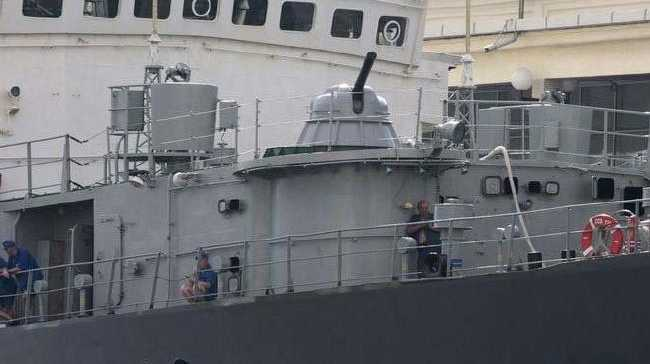 The Russian signals intelligence ship SSV-175 Viktor Leonov is armed with anti-aircraft missiles and guns. It is capable of recording and analysing a wide range of electronic signals.Source:Supplied