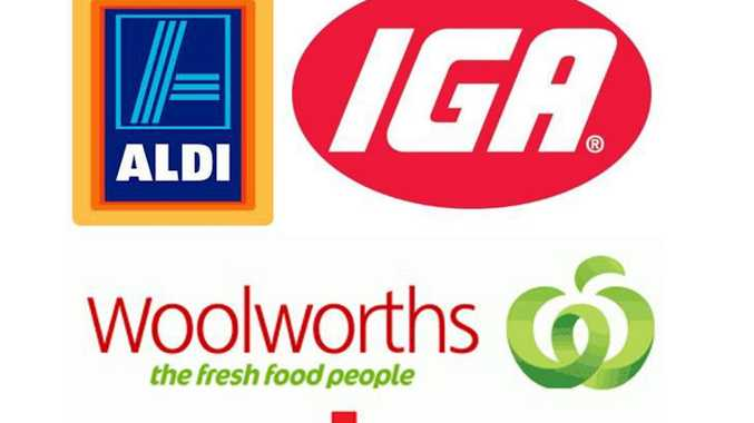 Coles, Woolworths, IGA and ALDI logo mashup.