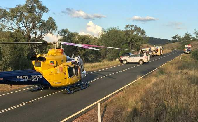 RACQ Capricorn Helicopter Rescue Service airlift a patient following a serious roll-over on the Capricorn Highway on Thursday February 16, 2017