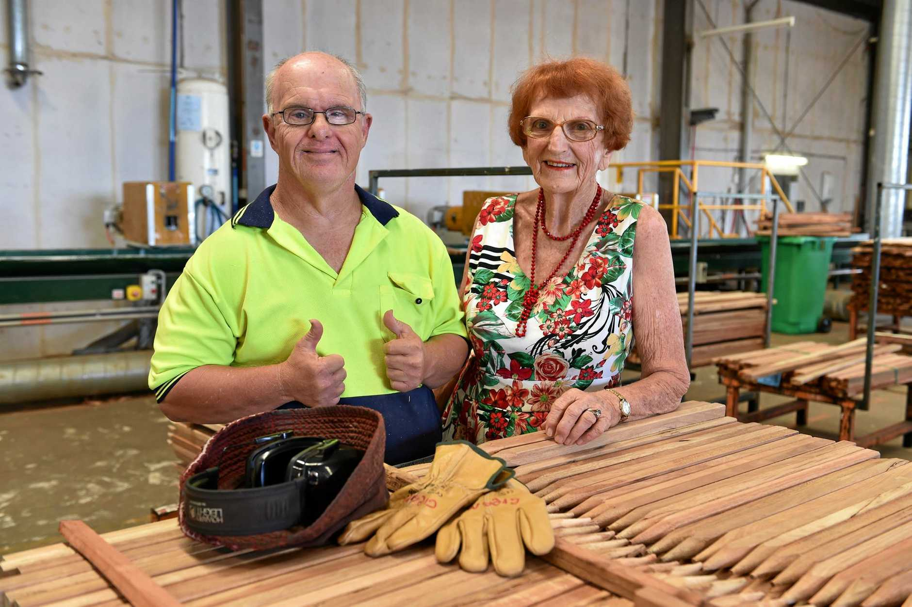 Joan Massingham has been volunteering at the Endeavour Foundation in Maryborough for 50 years. Pictured with her son Greg.