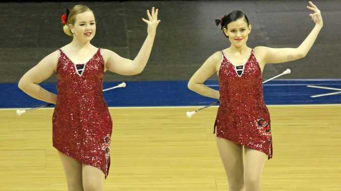 Mackay's Jasmin Sehl and Teisha Anderson competing at the International Pan Pacific Cup for baton twirling.