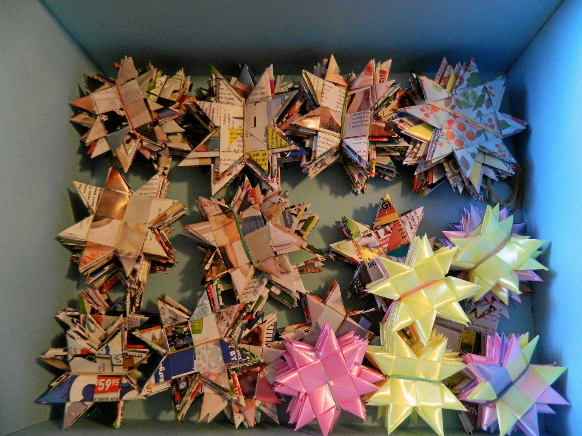 HELPING OTHERS: Bundy Spinners and Weavers are looking for help to make these stars as part of a worldwide project to end violence, to be displayed at the Commonwealth Games 2018.