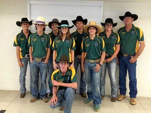 The Central Queensland members of the Australian high school rodeo team are (back row, from left) Kelsey Kleier, Mitchell Foxlee, Jackson Gray, Ebony Labuschewski and AHSRA president Daryl Kleier; (middle row) Lleyton Marks, Macey Marks, Sam Agius; and (front) Brady Fielder.