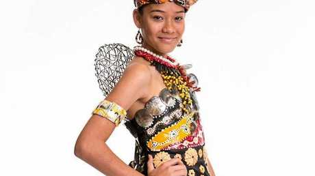 CULTURE: Adela Cameron, 13, in her themewear outfit she designed with her mum Neli.