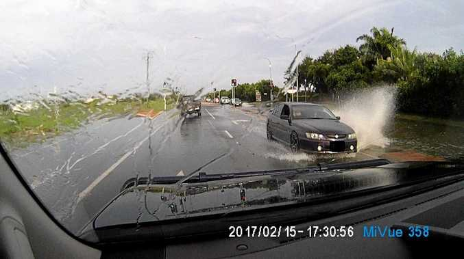 A car was caught on camera travelling on the wrong side of the road