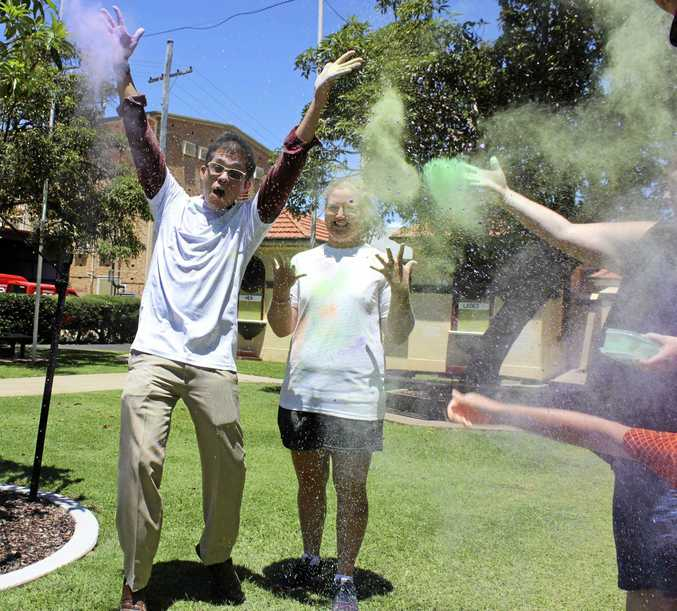 COLOUR CHAOS: Queensland Health senior psychologist Dan Banof and CQU student Kylie Goodman-Jones are excited about the fun run.