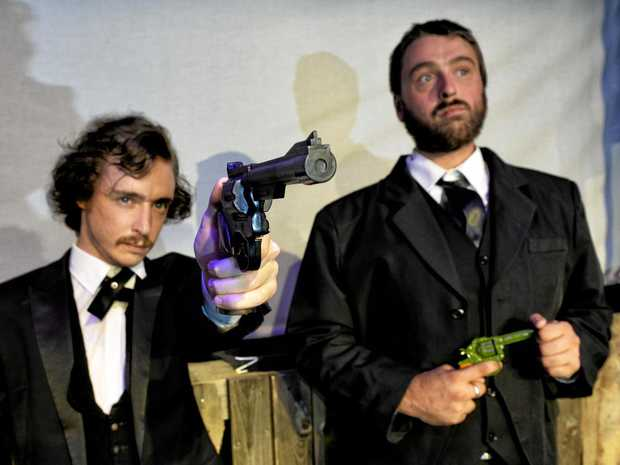 SHOT: Kyle Breese as John Wilkes Booth and Alex Andujar as Charles Giteau  in Assassins.