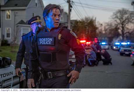 Mark Wahlberg in a scene from the movie Patriots Day.