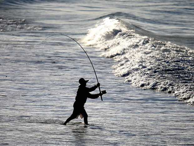 Robert Baker from Sunshine Beach casts a line at Kingscliff looking to hook a big one.