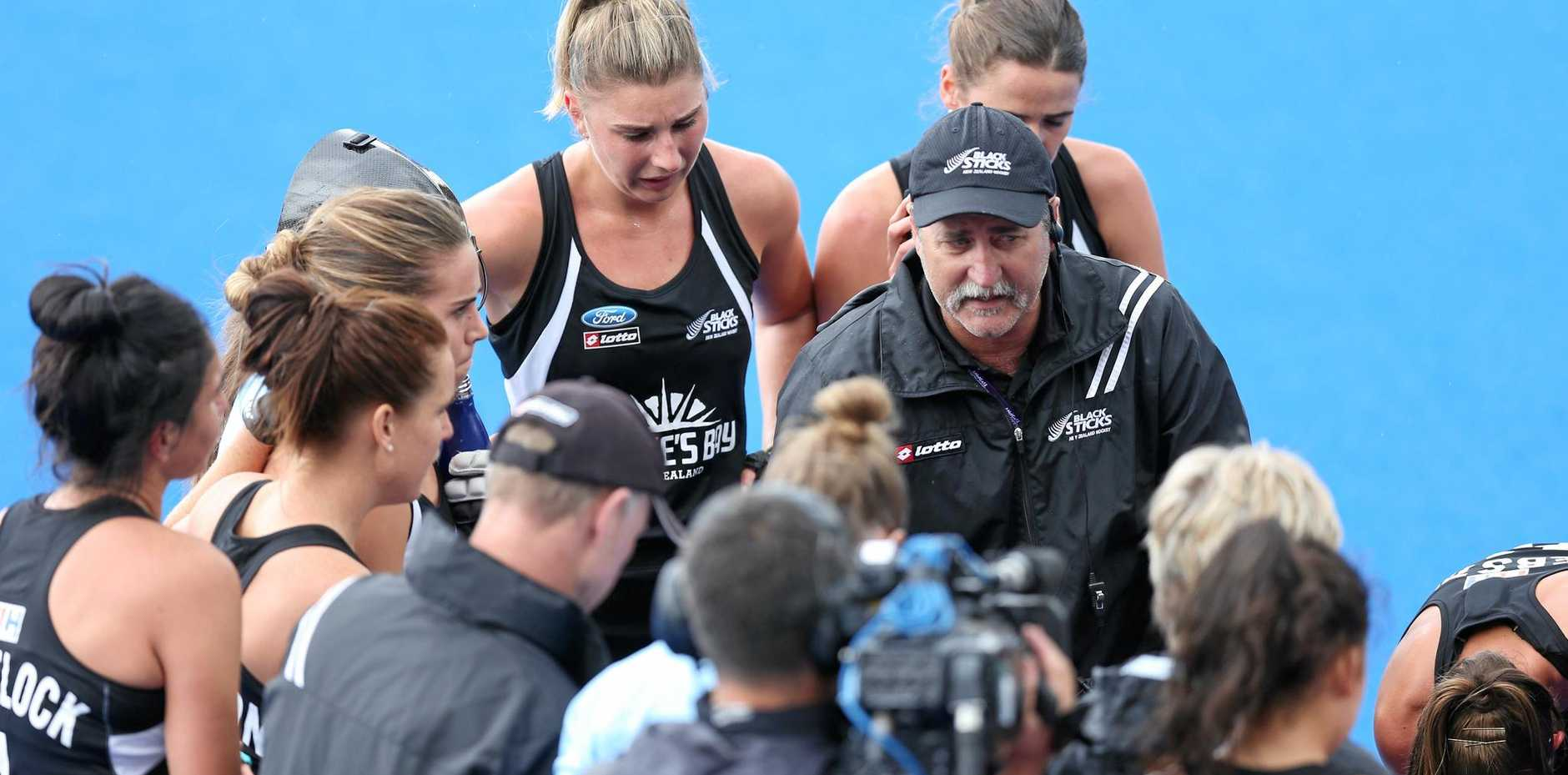 LEADER: New Zealand coach Mark Hager addresses his side at the FIH Women's Hockey Champions Trophy last year.