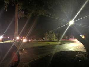 A tree fell on Borilla St on Sunday night following a storm in Emerald.
