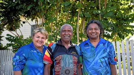 Bidgerdii Social and Emotional Wellbeing Coordinator Shelley Truscott, Torres Strait Elder Poyana (Poy) Pensio and Bidgerdii CEO Thalep Ahmat