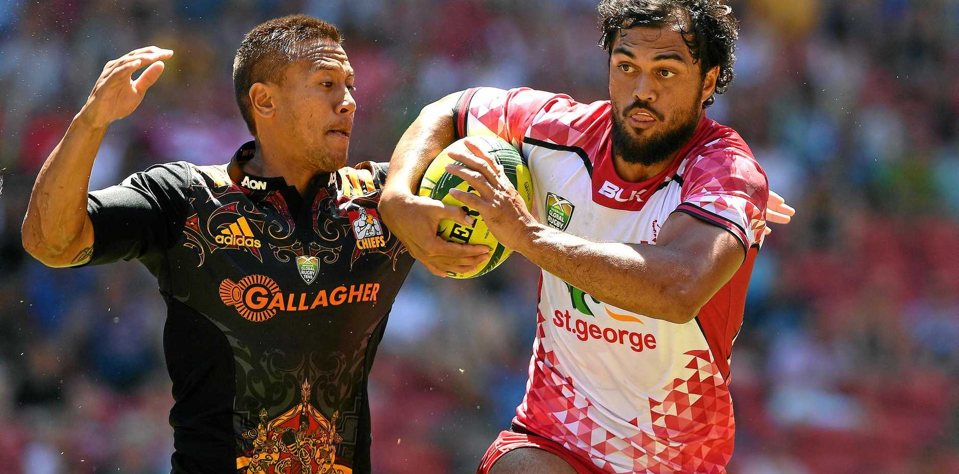 Karmichael Hunt (right) in action in the Brisbane Tens.