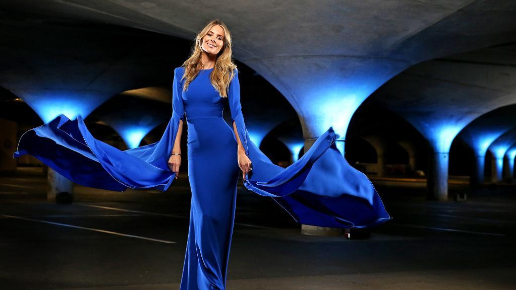 Model Jennifer Hawkins ahead of the Myer Autumn launch in Melbourne.