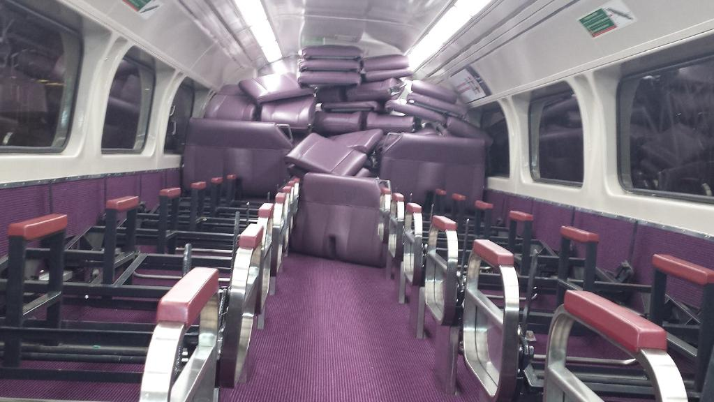 A carriage on a Sydney on Tuesday night was trashed with all the seats removed on the top level and piled up at the back.