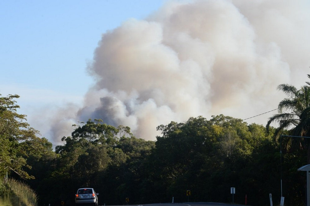 The fire north of Lennox Head is still burning out of control.