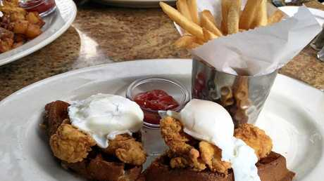 Hawaii travel article from Meghan Harris. Chicken waffles for breakfast at The Cheesecake Factory.