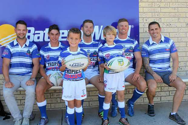 Rockhampton Brothers members (back row, from left) Damien Seibold, Riley Shadlow, Jacob Langdon, Cooper Nobbs, PJ Marsh and (front) Hayden Fagg and Xavier Draper sporting the club's new strip for the 100th year.