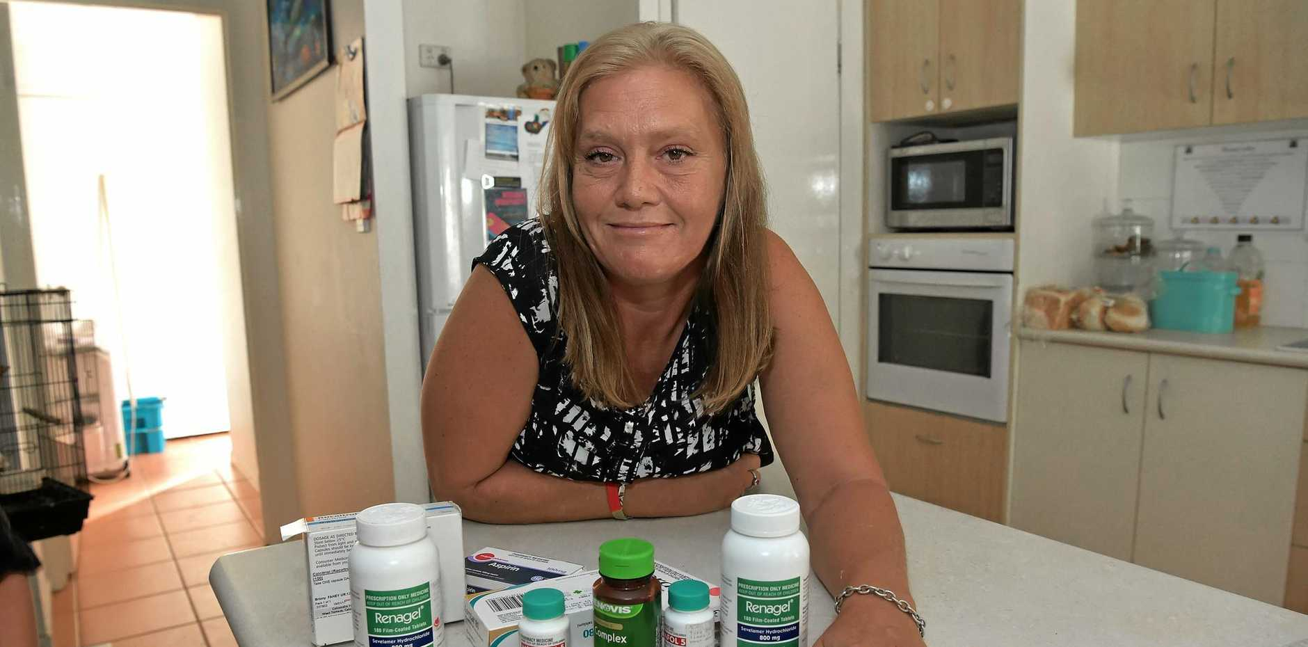 Briony Fahey, pictured with her medication, says the new Sunshine Coast University Hospital will help people with serious renal issues and diabetes.