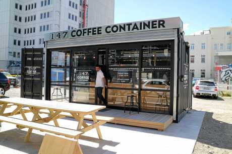 A cafe set up in a shipping container in the Christchurch central business district.