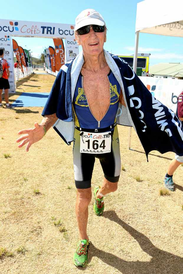 NO STOPPING HIM: Having secured a world triathlon championship at age 80, Keith Pearce will be returning to Coffs Harbour in a fortnight for the bcu Coffs Tri.