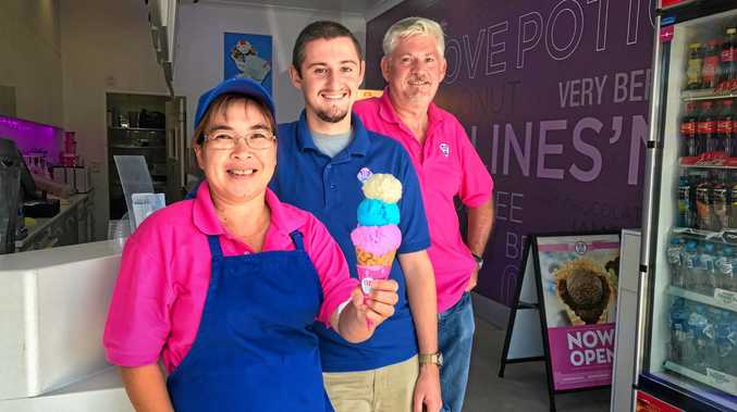 ICE CREAM HANDS: Manager of Baskin Robbins Byron Bay, Rhose Grennan and co-owners Cameron and Tony Schoer