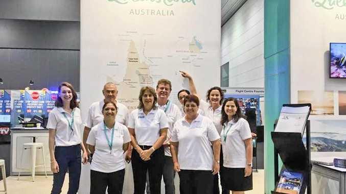 GO TEAM: Melbourne Flight Centre Expo with the SGBR destination represented by Darryl Branthwaite, CEO GAPDL (Gladstone region).