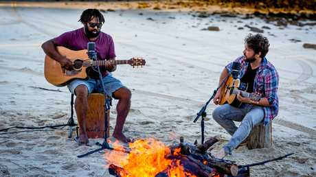 Jeremy Marou and Tom Busby during their time on Great Keppel Island while making their latest album, Postcards From the Shell House.
