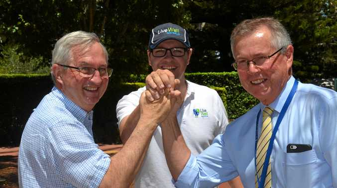 HEALTHY COMPETITION: Taking on the Battle of the Hospitals challenge are (from left) St Vincent's Hospital chief medical officer Dr Stuart Paige, Live Well Australia managing director Jaden Frame and St Andrew's Hospital CEO Ray Fairweather.