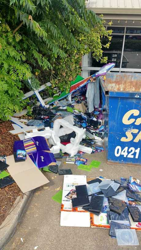 Somebody was responsible for trashing outside Gympie's Blockbuster store.