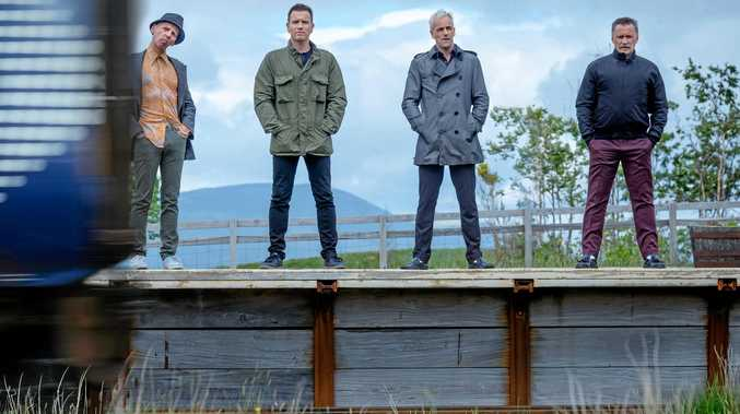 Ewen Bremner, Ewan McGregor, Jonny Lee Miller and Robert Carlyle in T2 Trainspotting. ABOVE RIGHT: Jonny Lee Miller in a scene from the TV series Elementary.