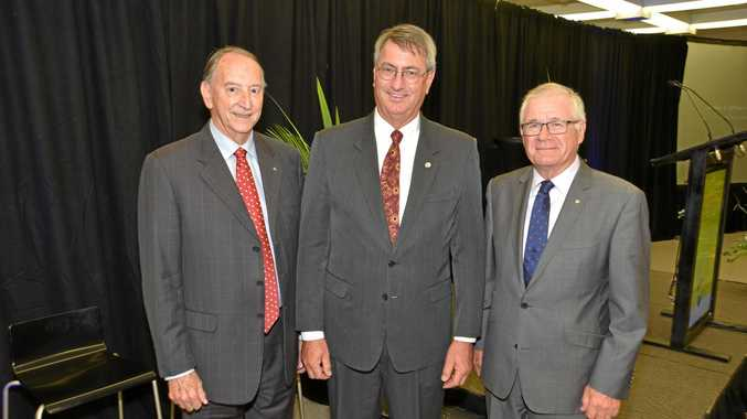 Emeritus Chancellor Hon Stan Jones AO QC, current CQUniversity Chancellor John Abbott and Emeritus Chancellor Rennie Fritschy AM at the university's 25th anniversary celebrations.