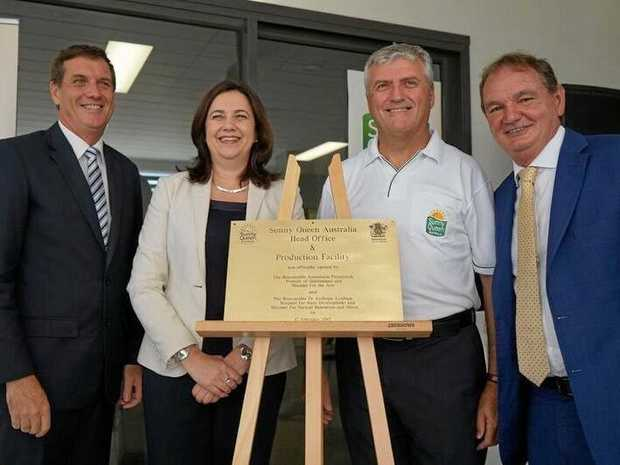 NOW OPEN: Minister for State Development Dr Anthony Lynham, Premier Annastacia Palaszczuk, Sunny Queen Australia managing director John O'Hara and Ipswich Mayor Paul Pisasale at the grand opening of the new $40 million manufacturing facility in Carole Park.