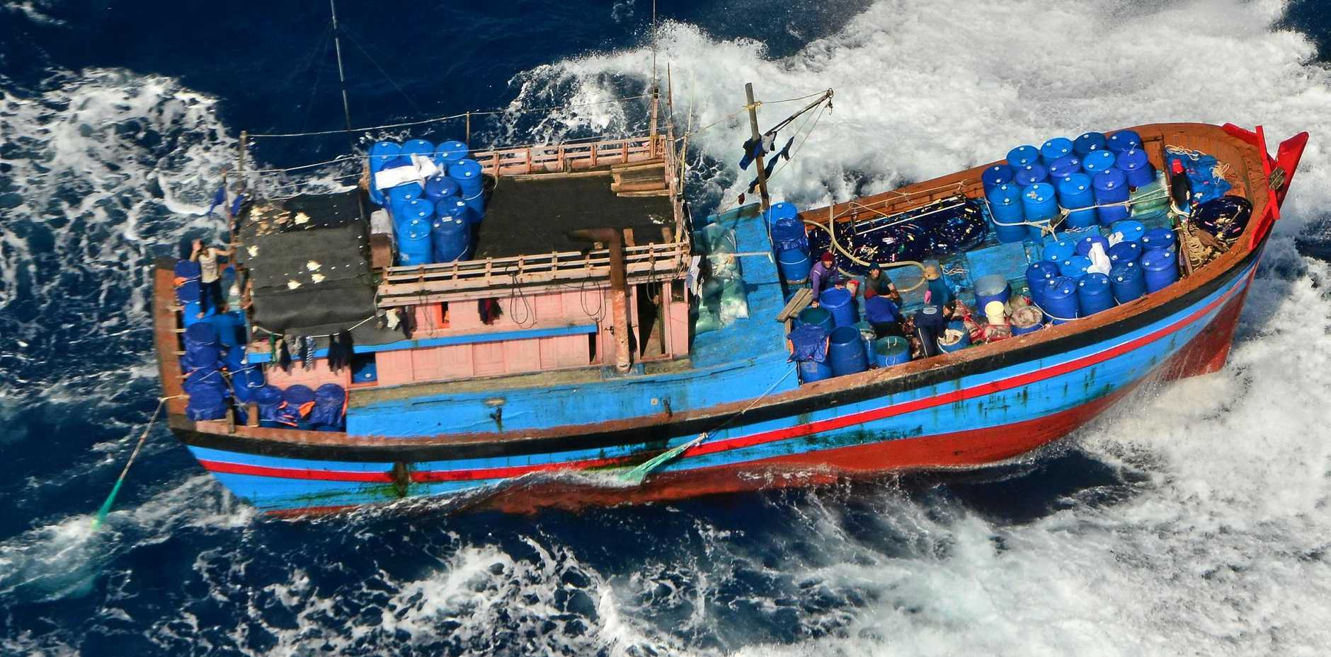 Fishermen on board this Vietnamese vessel were remanded in Gladstone yesterday, suspected of illegally catching sea cucumbers.